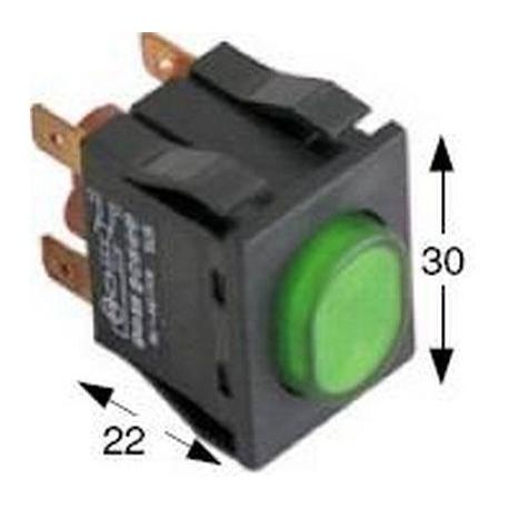 TIQ8057-INTERRUPTEUR A POUSSOIR VERT 30X22MM 2NO