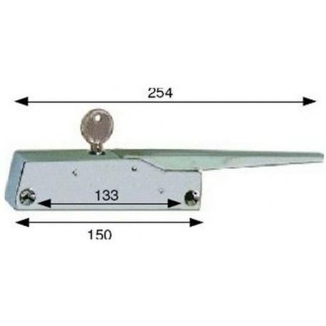 FERMETURE CHROMEE AVEC CLE L:150MM ENTRAXE 133MM ORIGINE - TIQ4006