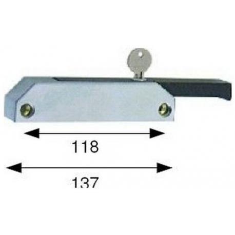 FERMETURE DE PORTE AVEC CLE L:138MM ENTRAXE 118MM - TIQ4407