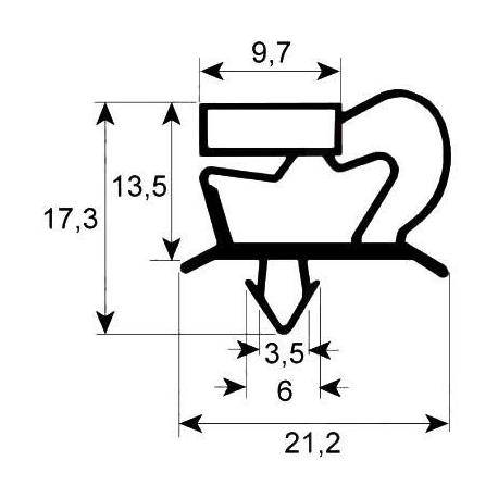JOINT MAGNETIQUE POUR PORTE ARMOIRE L:1558MM L:648MM GRIS - SEQ090