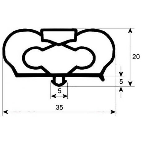 JOINT MAGNETIQUE DE TIROIR BM-GN 1/2 L:426MM L:266MM GRIS  - VASQ683