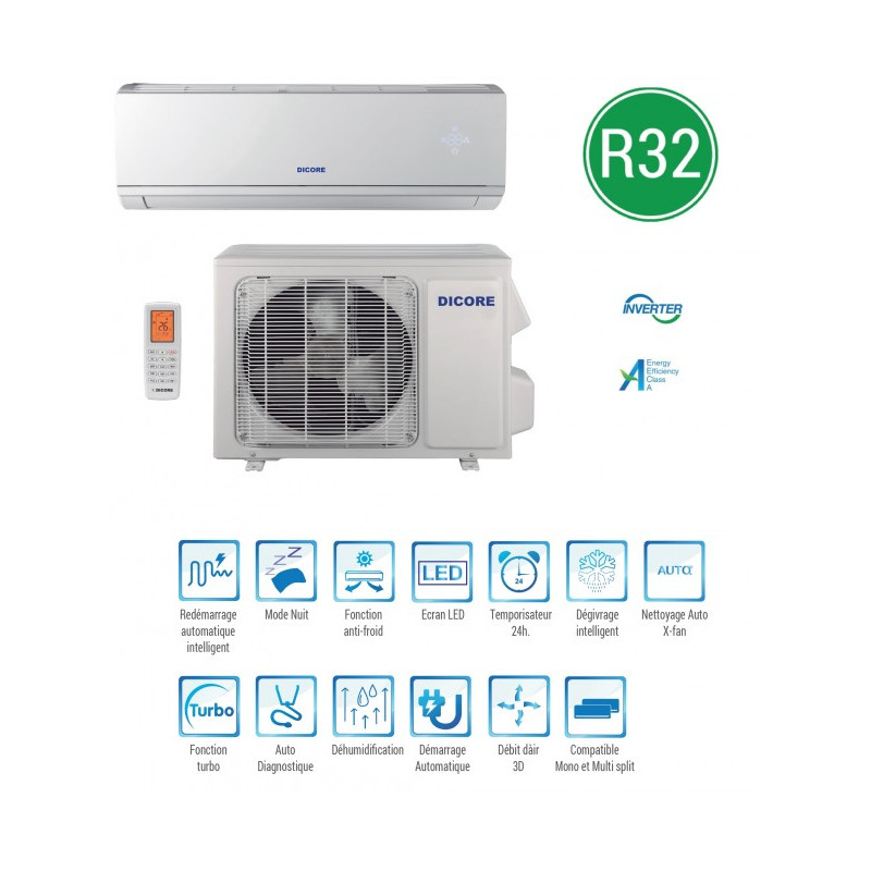 climatiseur inverter r410 mono split 5275w 220 240v. Black Bedroom Furniture Sets. Home Design Ideas
