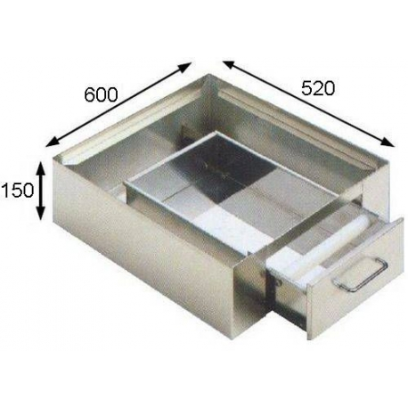 BAC A MARC + TIROIR INOX POUR MACHINE A CAFE 1GR 600X520X150 - IQ7009