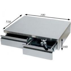 BAC A MARC 2 TIROIRS AVEC GLISSIERE 700X530X160MM INOX POUR - IQ7179