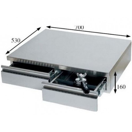 IQ7179-BAC A MARC 2 TIROIRS AVEC GLISSIERE 700X530X160MM INOX POUR