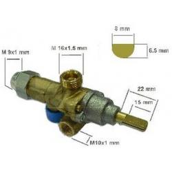 ROBINET GAZ PEL 21S AXE:L22MM 8X6.5MM RAC TC M9X1 - TIQ66603