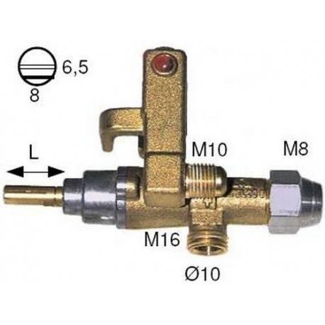 ROBINET GAZ PEL 20/S RAC TC M8X1 FOURNI AVEC ADAPTATEUR - TIQ6187
