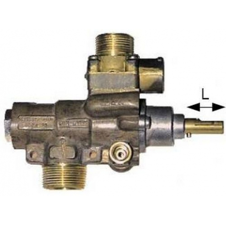 ROBINET GAZ PEL 23/V AVEC BRIDE VERTICALE RAC TC M10X1 - TIQ6105
