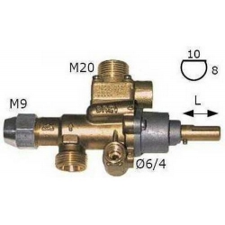 ROBINET GAZ PEL 22V AXE L25MM 8X10MM RAC THERMOCOUPLE M9X1