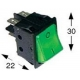TIQ665575-POUSSOIR 2 POLES LUMINEUX 0-I 250V 16A L:30MM H:22MM VERT 4P