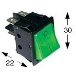 POUSSOIR 2 POLES LUMINEUX 0-I 250V 16A L:30MM H:22MM VERT 4P - TIQ665575