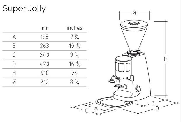 Dimensions Mazzer Super Jolly