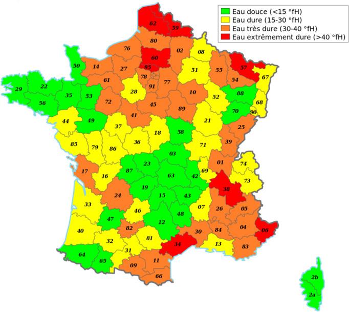 Carte de la dureté de l'eau en France