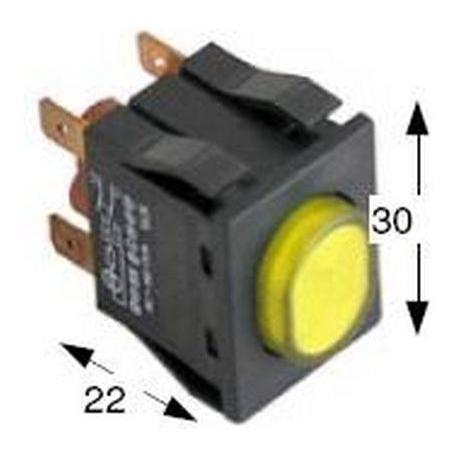 TIQ8050-BOUTON POUSSOIR 30X22MM 250V 16A JAUNE