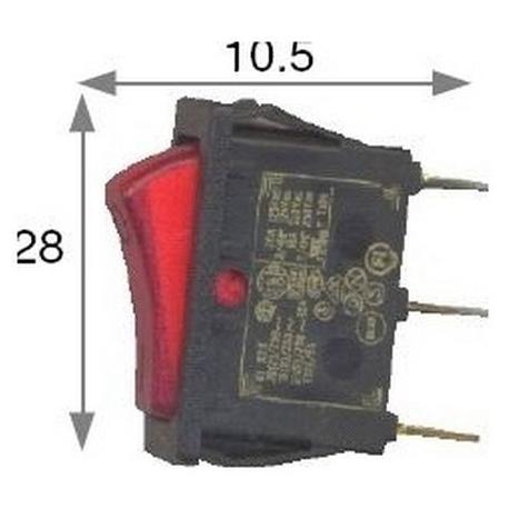IQ022-INTERRUPTEUR 30X11MM 250V 16A ROUGE