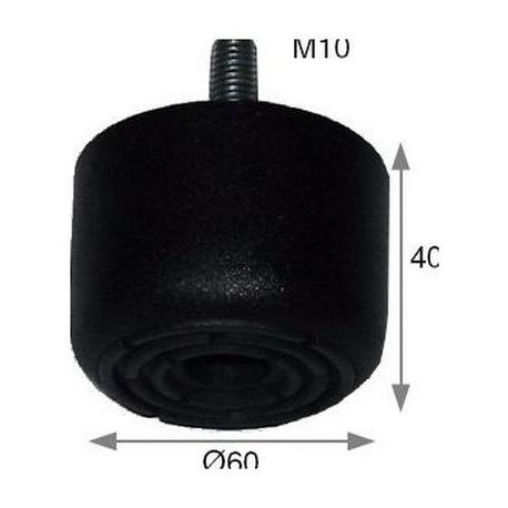 IQ425-PIED PLASTIQUE NOIR 60X40