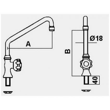 ITQ885-ROBINET VERTICAL 26L/MIN 1/2M