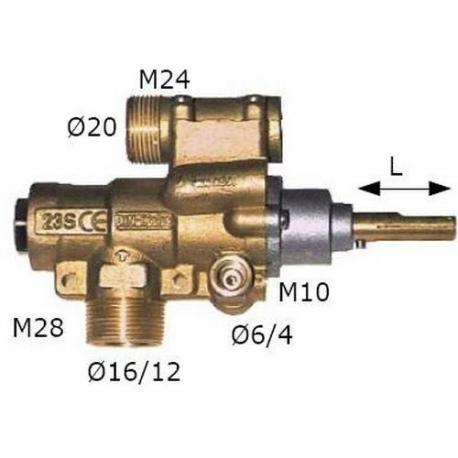 TIQ6193-ROBINET GAZ PEL 23/O AVEC BRIDE HORIZONTALE RAC TC M9X1