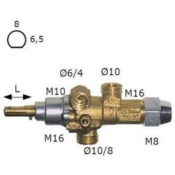 ROBINET GAZ PEL 21S AXE L22MM-8X6.5MM RAC THERMOCOUPLE M8X
