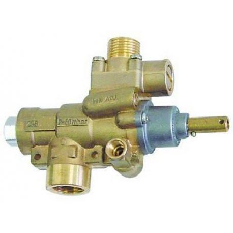 TIQ76689-ROBINET GAZ PEL 23/S SORTIE VERTICALE RAC TC M10X1 AXE:L25MM